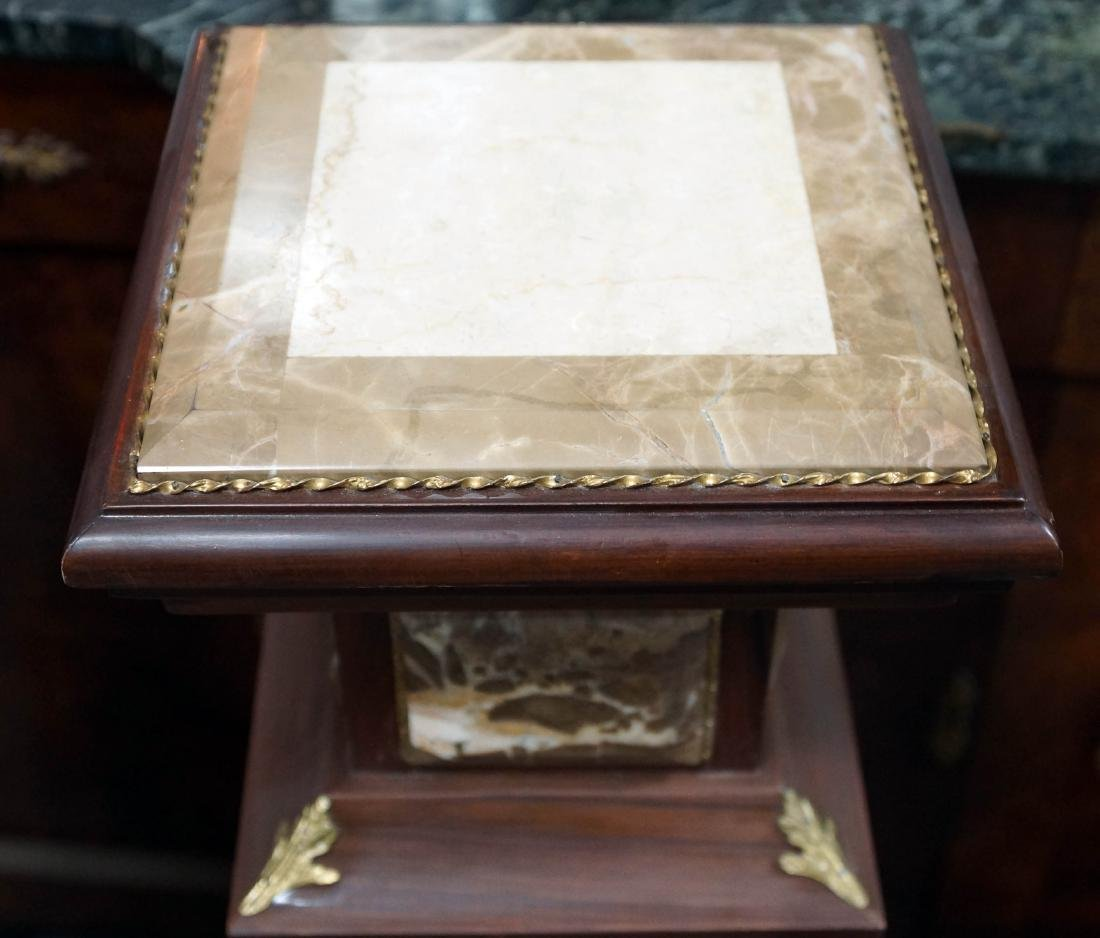 Pair Of Louis Xvi Style Wood And Marble Pedestals W/ - 5