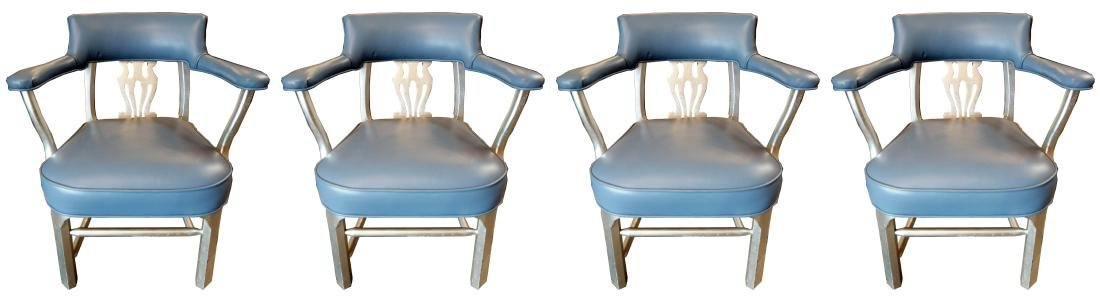 Set Of Four Silver Finish Chantal Chairs