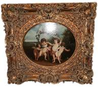Large Vintage Victorian Style Oil On Canvas Painting