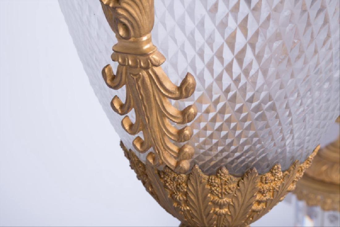 Pair Of 19Th C. Louis Xvi Style Gilt Bronze & Cut Glass - 2