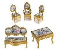 A Continental Gilt Metal And Enamel Suite Of Miniature