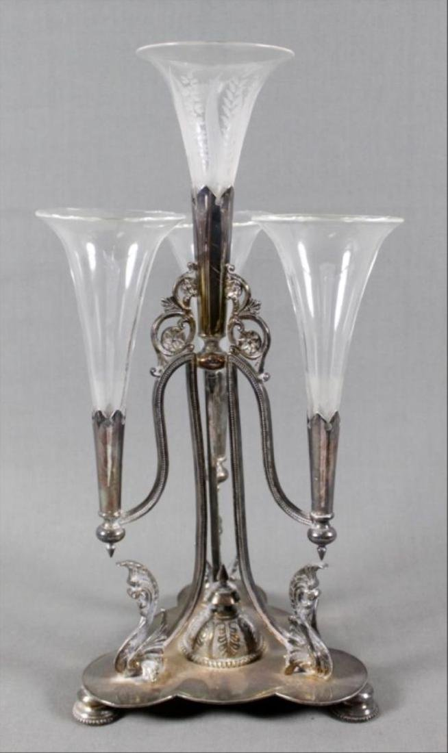 Silverplate And Glass Epergne