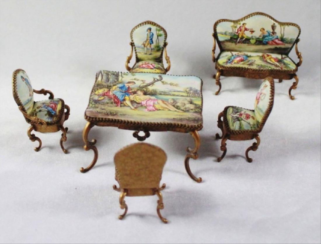 Viennese Enamel Miniature Furniture Set