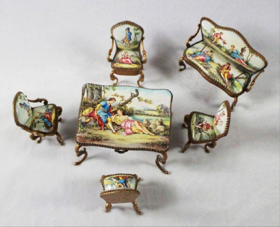 Viennese Enamel Miniature Furniture Set - 3