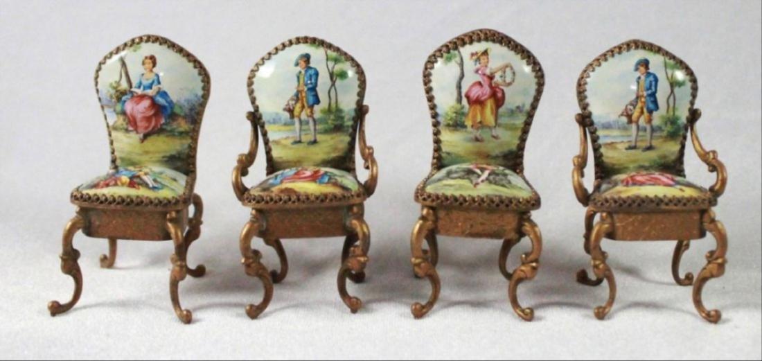 Viennese Enamel Miniature Furniture Set - 4