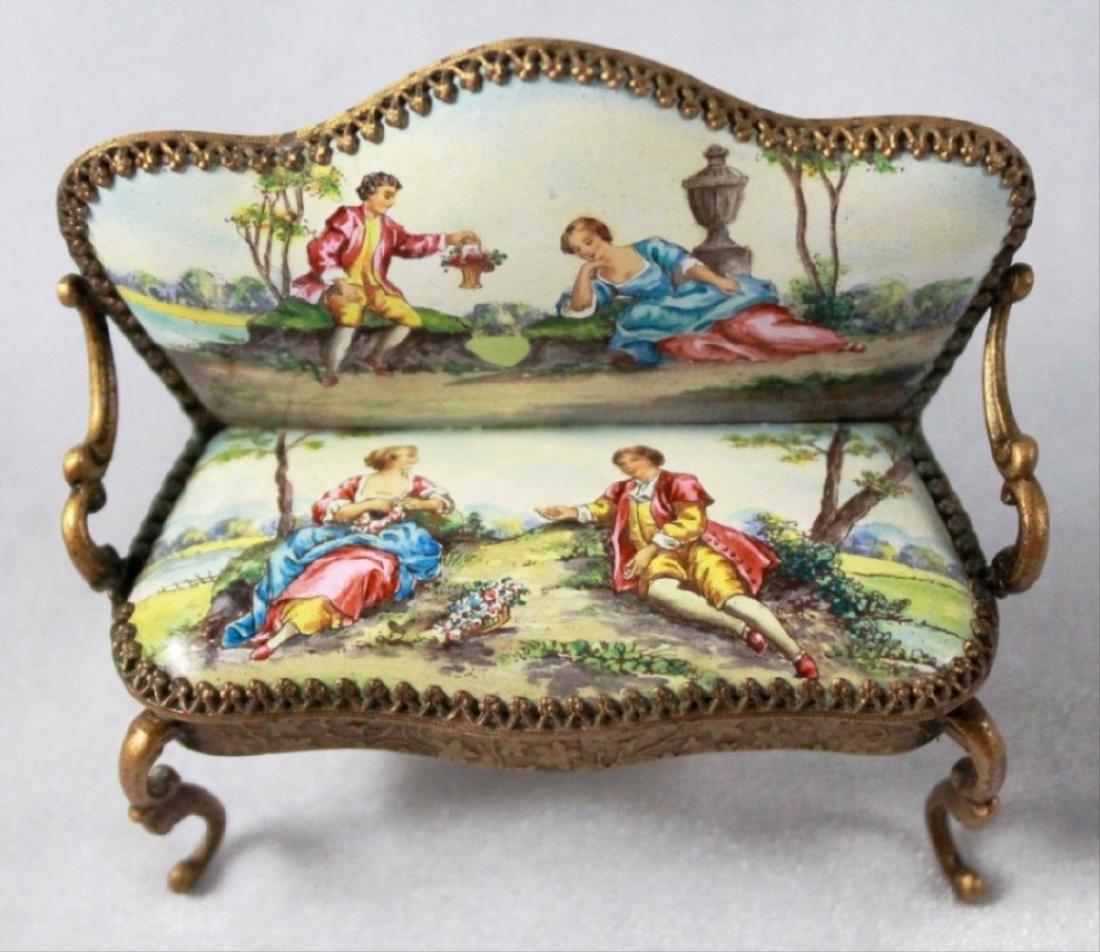 Viennese Enamel Miniature Furniture Set - 9