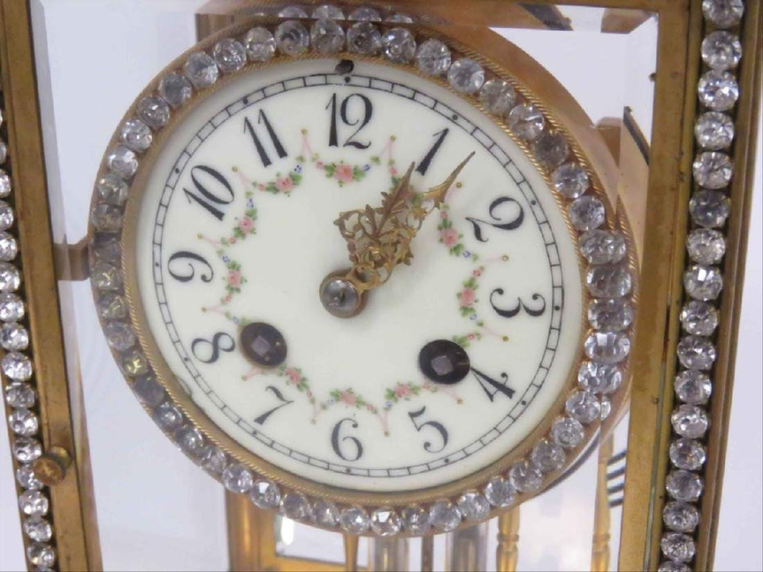 French Marti Gilt Bronze Crystal Regulator Shelf Clock, - 2