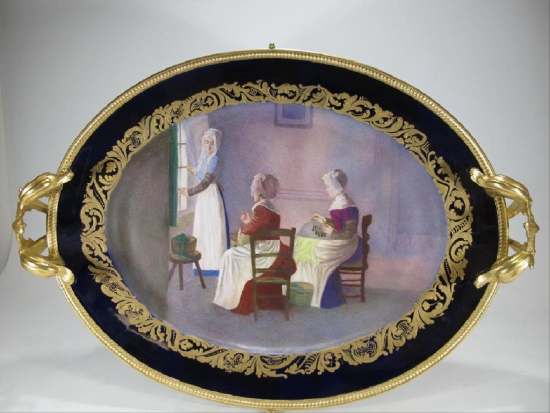 Antique French Sevres Porcelain & Gilt Bronze Tray
