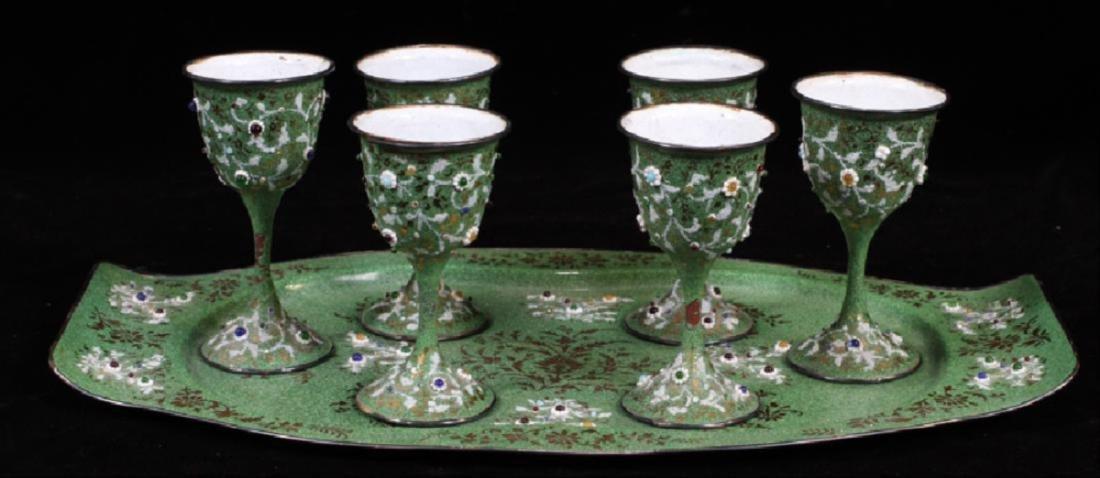 Enameled Wine Set With Tray