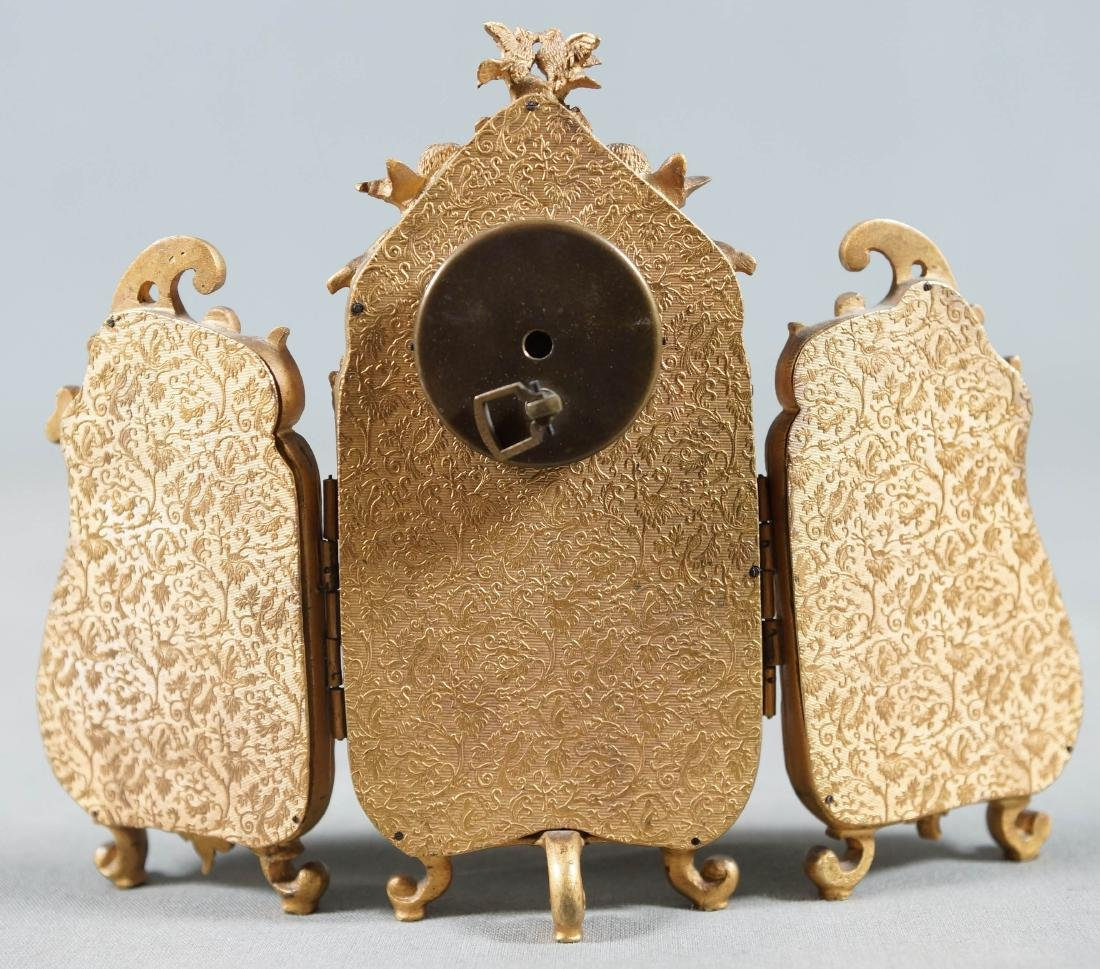 Antique Viennese Enamel Bronze Ormolu Miniature 3 Panel - 8