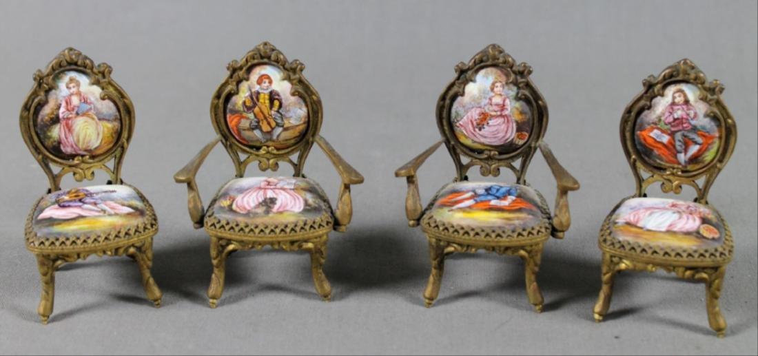 7 Pc. Viennese Enamel Miniature Furniture Set - 4