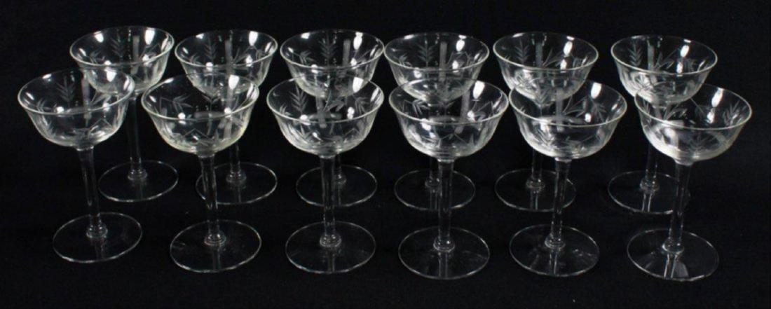 Etched Wine Glasses, 12 Pcs - 2