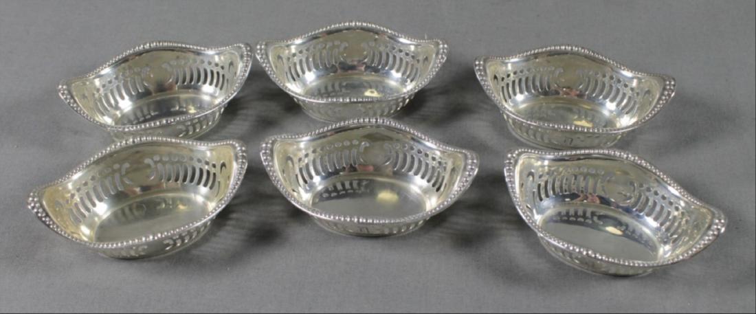 Set Of 6 Sterling Silver Salt Trays