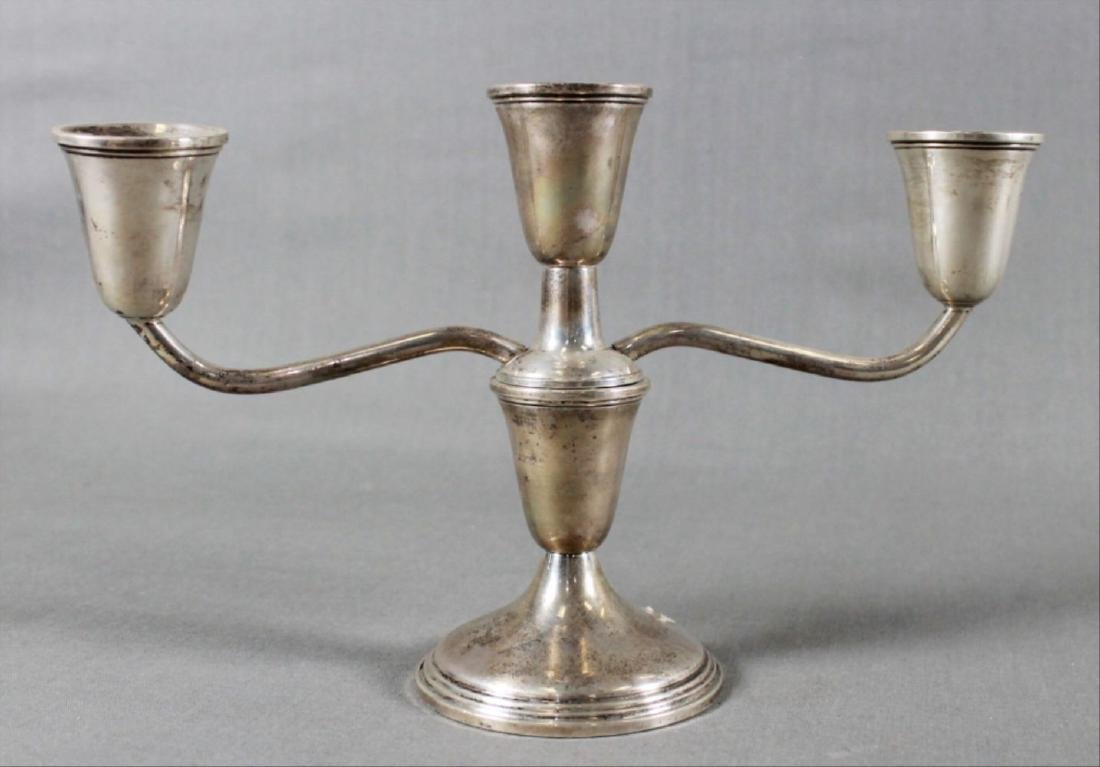 Pair Of Sterling Weighted 3 Arm Candelabras - 2