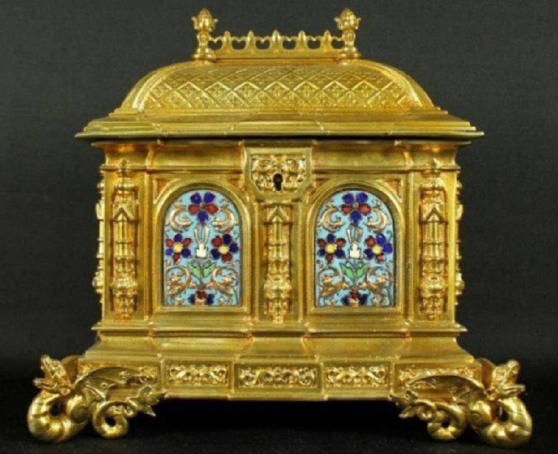 French Champleve Enamel And Bronze Box