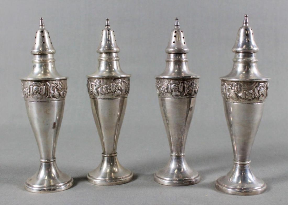 Set Of 4 Sterling Silver Salt Shakers