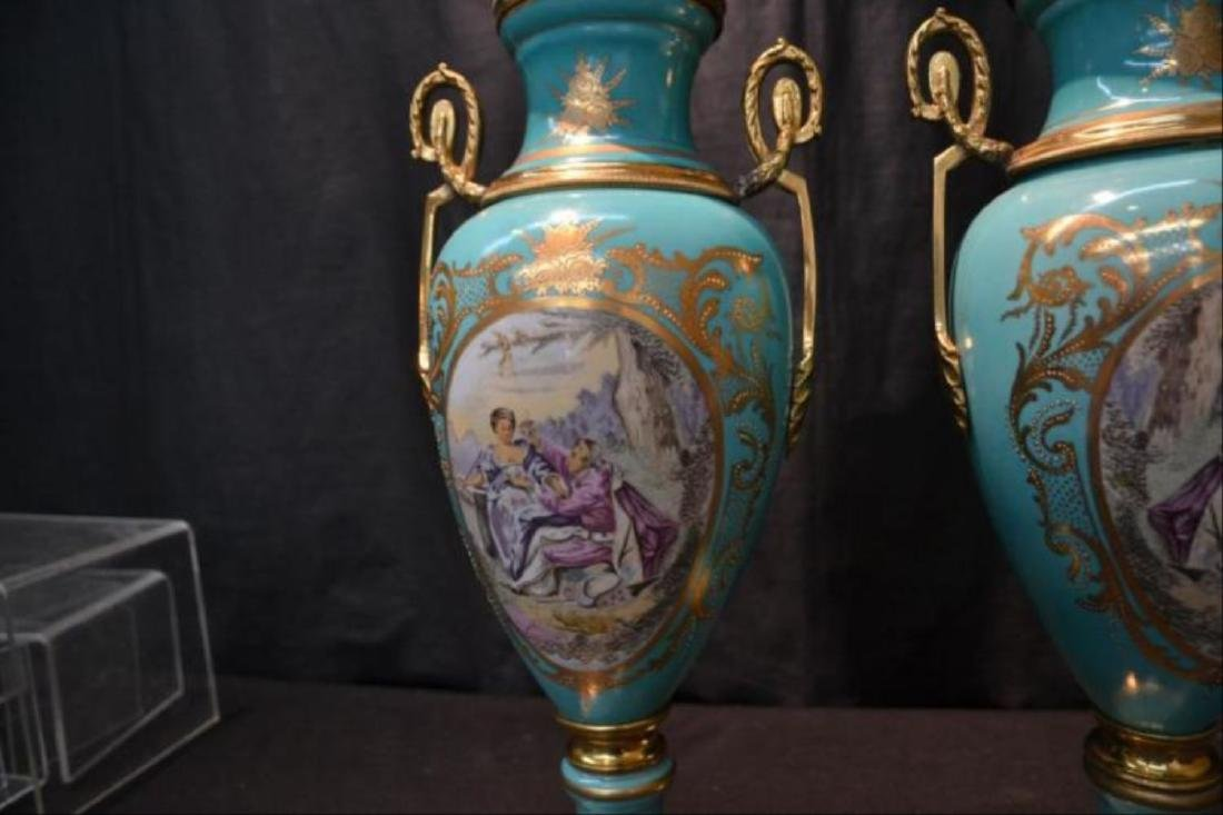 Pair Of Sevres Style Covered Urns - 4