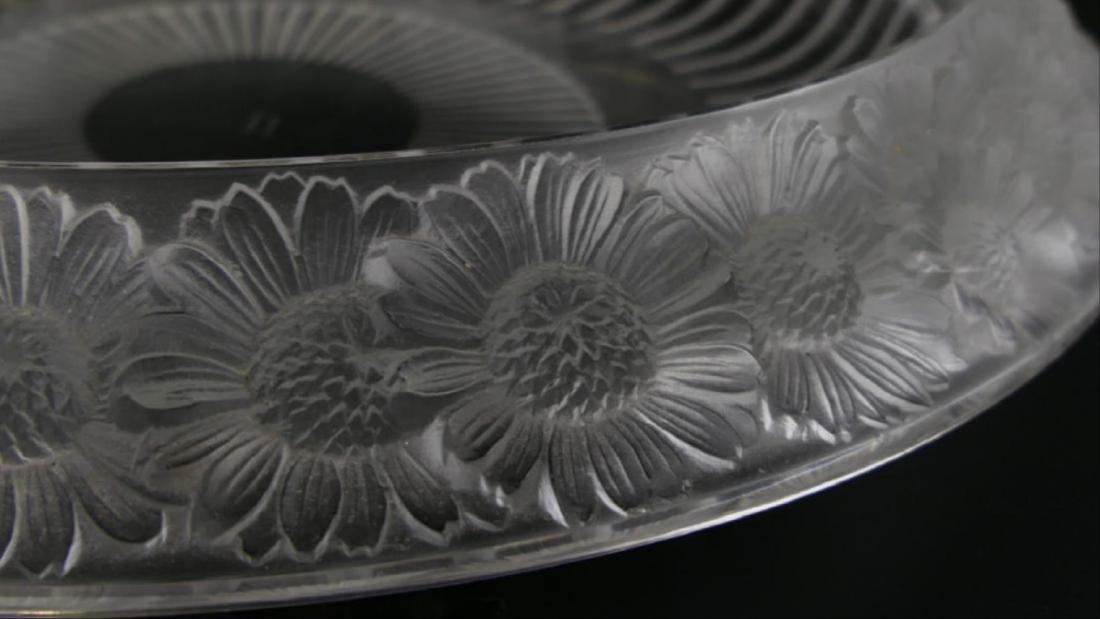 """Lalique Crystal """"Marguerite"""" Wide Centerpiece Bowl - 3"""