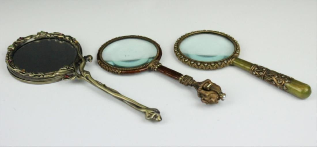 Lot Of 3 Small Enamel Decorated Hand Mirrors