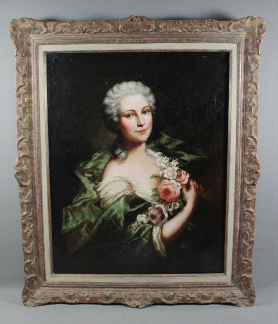 Framed Oil On CanvasOf Woman W/ Flowers