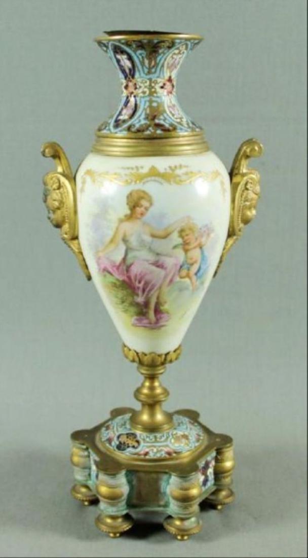 French Champleve Porcelain And Enamel Vase