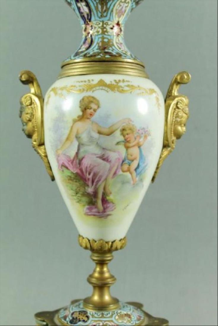 French Champleve Porcelain And Enamel Vase - 2