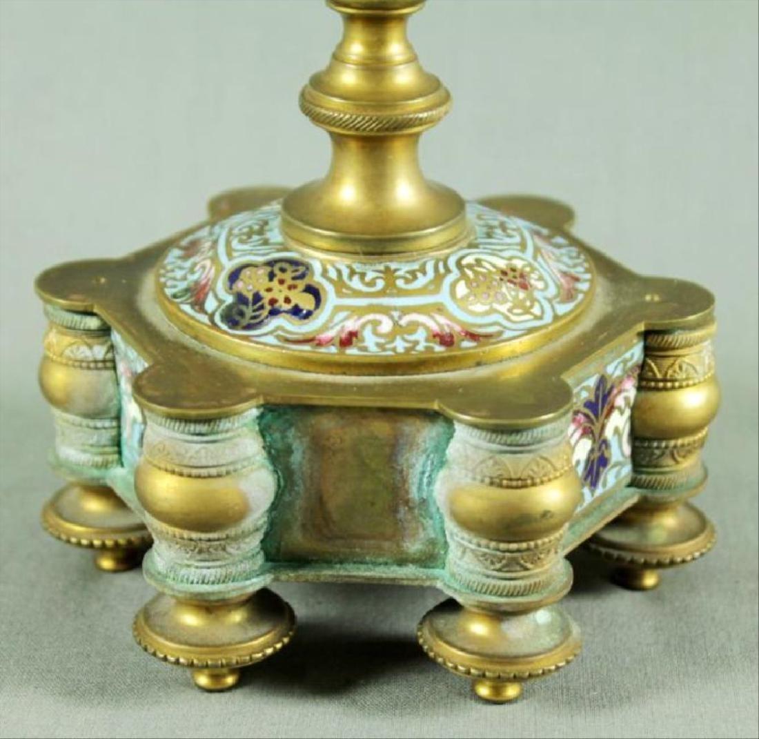 French Champleve Porcelain And Enamel Vase - 3
