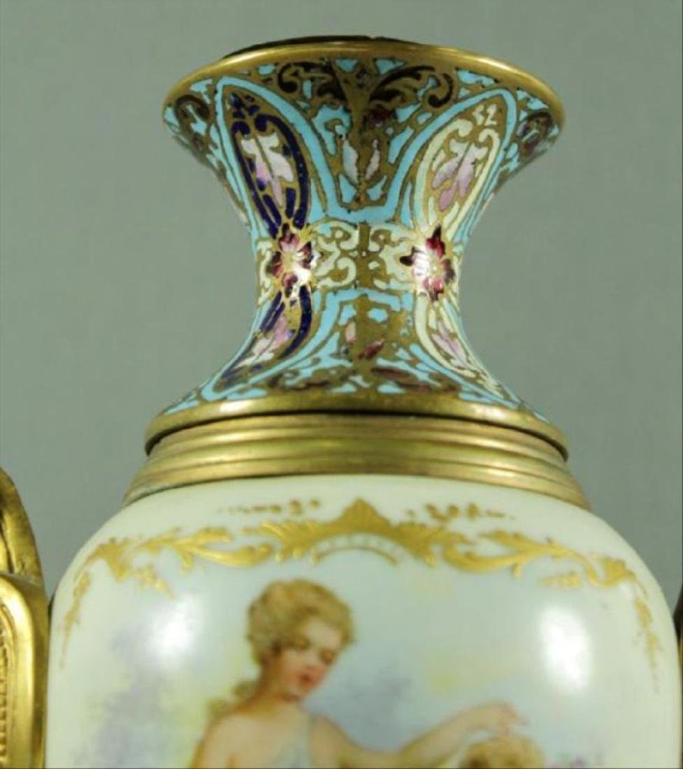 French Champleve Porcelain And Enamel Vase - 4