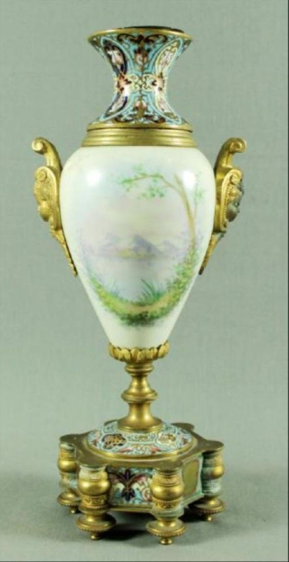 French Champleve Porcelain And Enamel Vase - 6