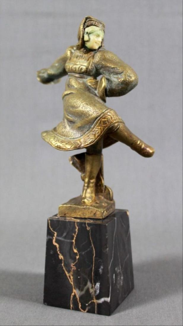 Bronze Figure Of Dancer On Marble Base Signed Morante