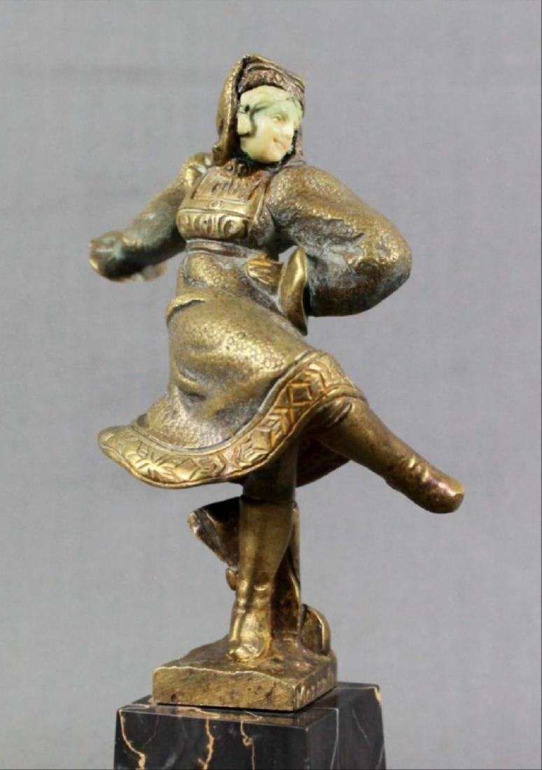 Bronze Figure Of Dancer On Marble Base Signed Morante - 2