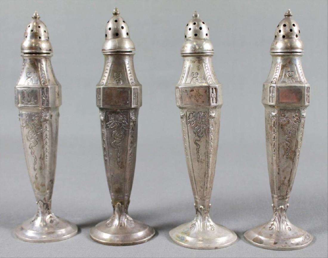 Set Of 4 Silver Salt Shakers