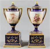 Pair Of Royal Vienna Porcelain Covered Urns