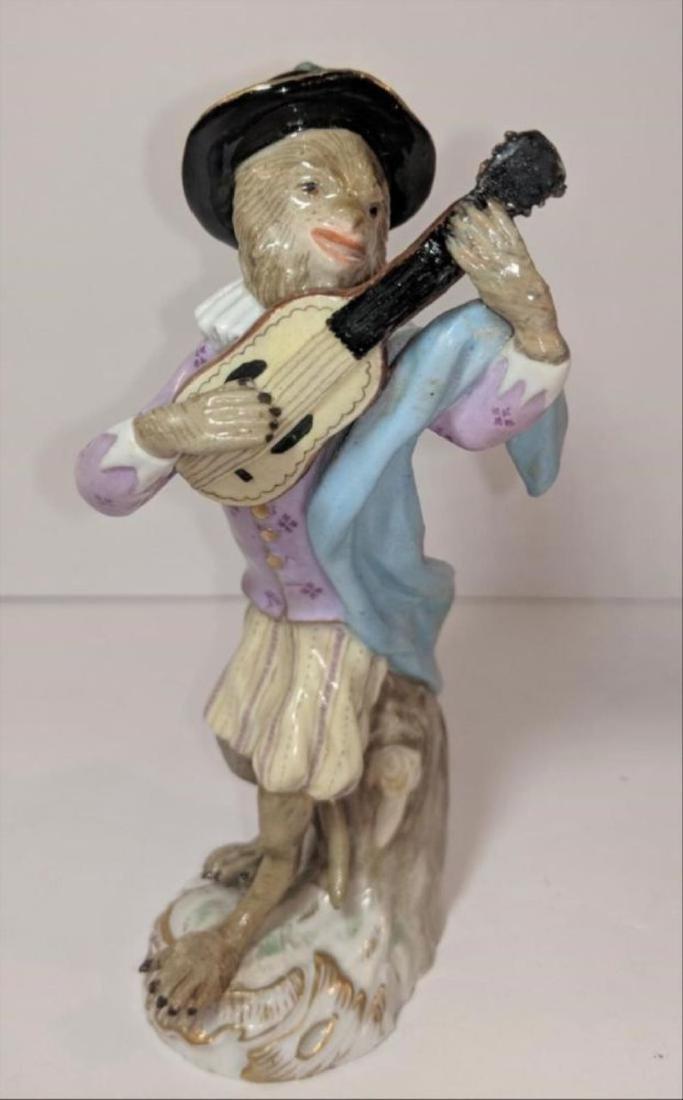 19 Th Century Meissen Porcelain Monkey Band Guitar