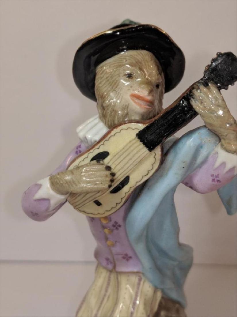 19 Th Century Meissen Porcelain Monkey Band Guitar - 3
