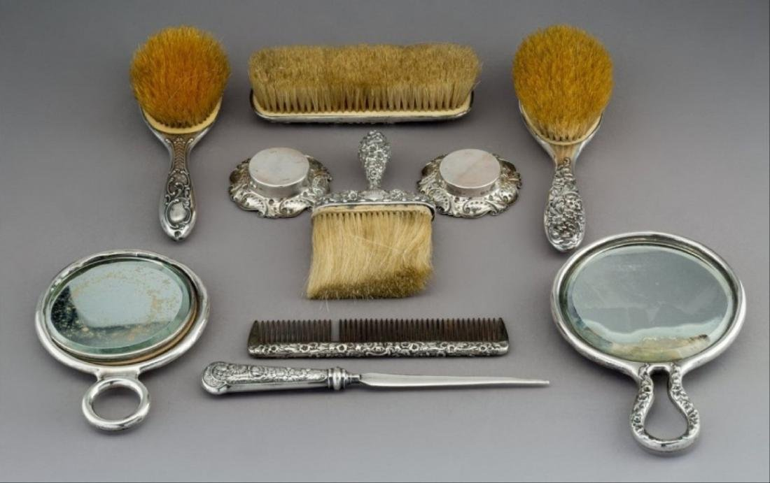 Nine Gorham Repouss Silver Vanity Items With A - 2