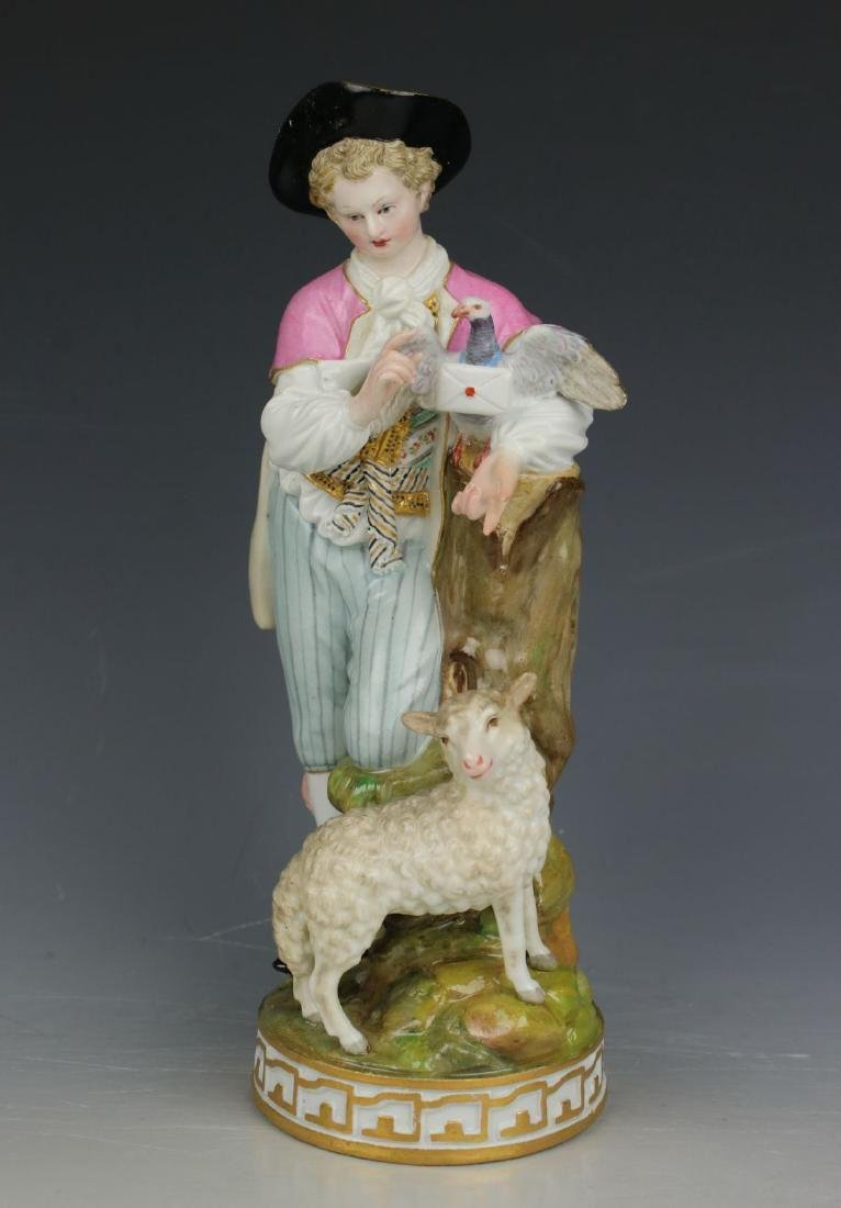 """Large 8"""" Meissen Acier Figurine F73 """"Man with Sheep and"""