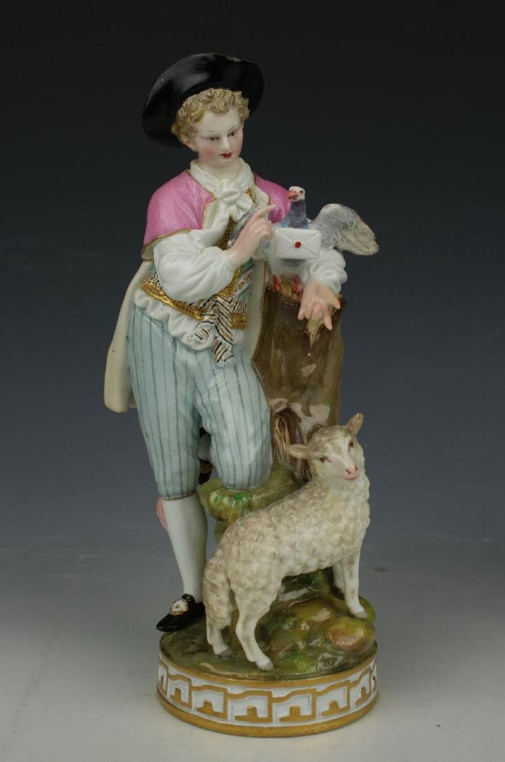 """Large 8"""" Meissen Acier Figurine F73 """"Man with Sheep and - 2"""