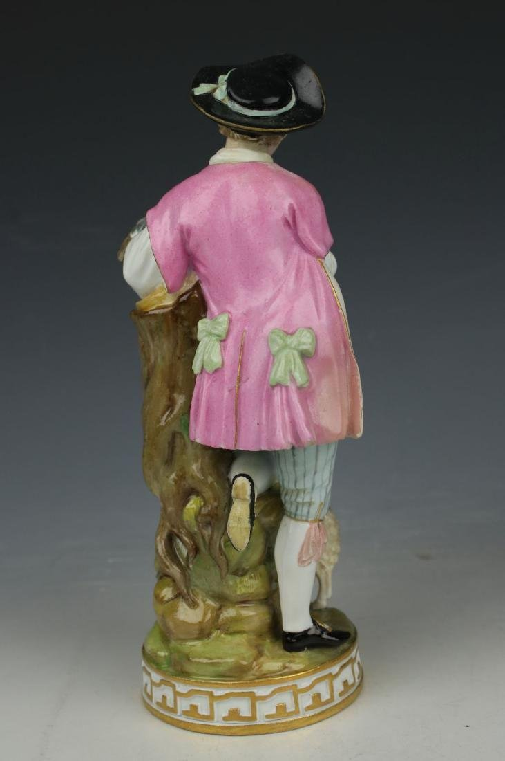 """Large 8"""" Meissen Acier Figurine F73 """"Man with Sheep and - 3"""