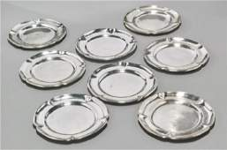 Set Of Eight Mexican Sterling Silver Plates