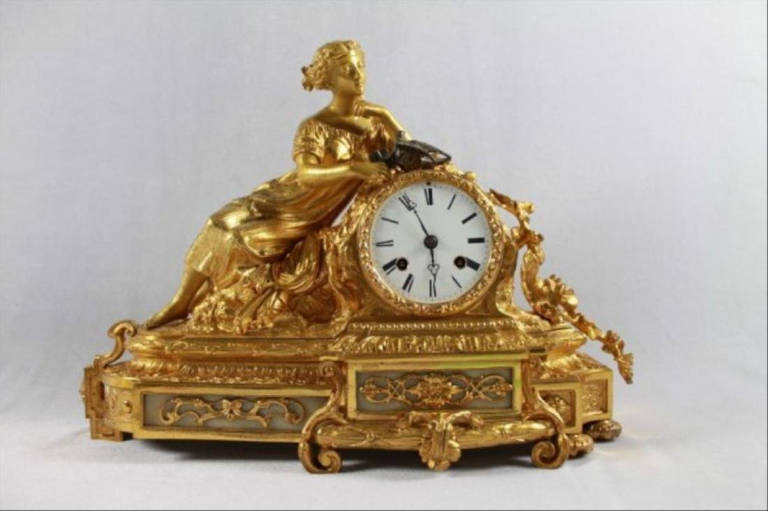 Dore Bronze 8 Day Figurative Clock