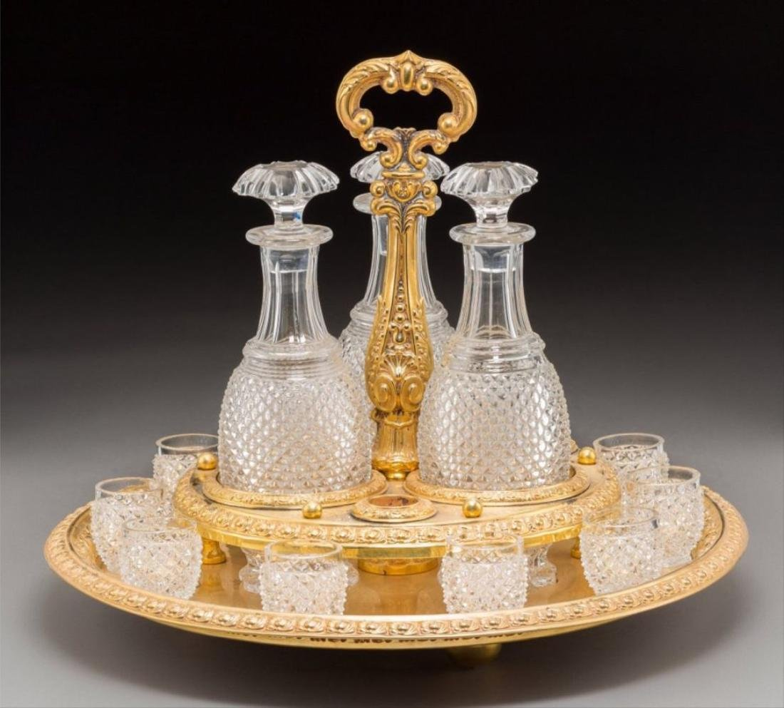Fourteen Piece Baccarat Style Cut-Glass And Gi