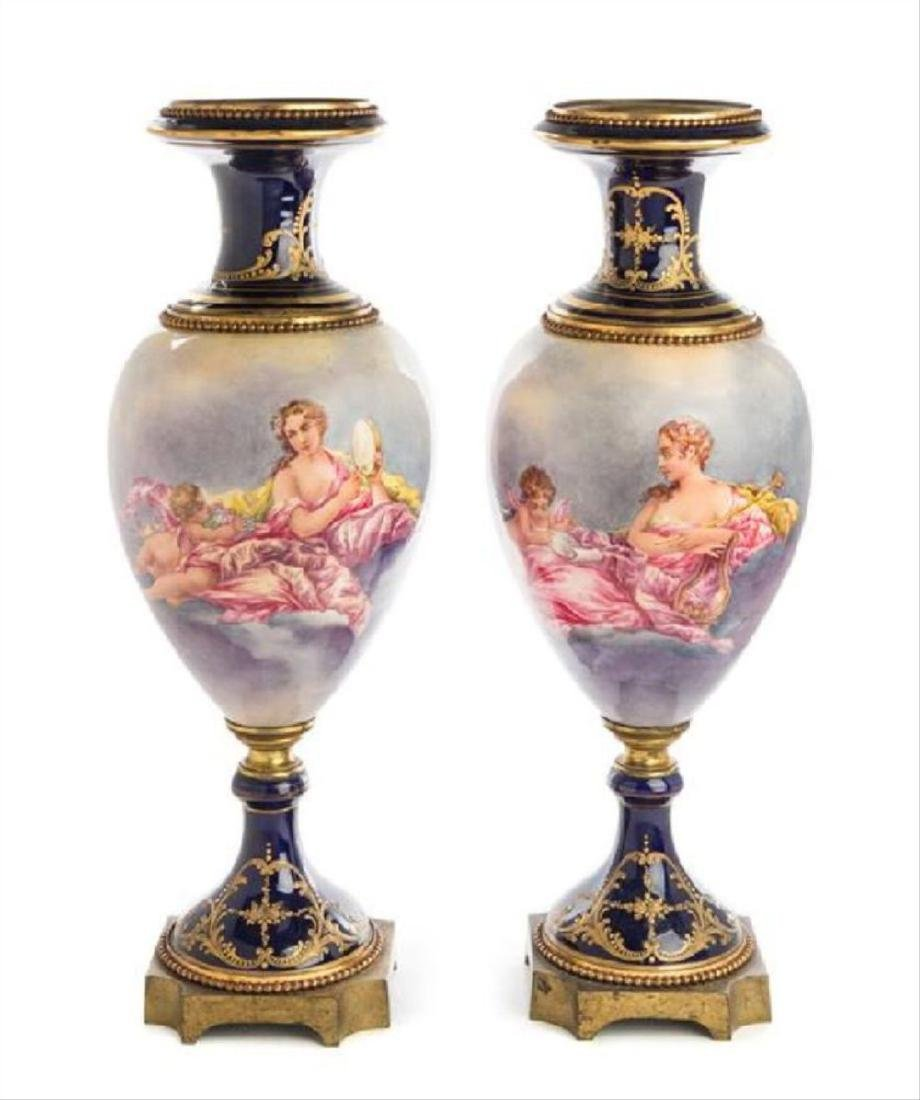 A Pair Of Gilt Bronze Mounted Sevres Style Porcelain