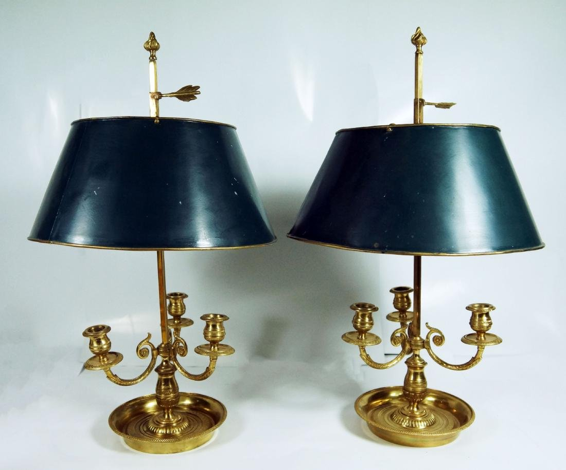 Pair Of French Bouillotte Lamps W/ Tole Shades