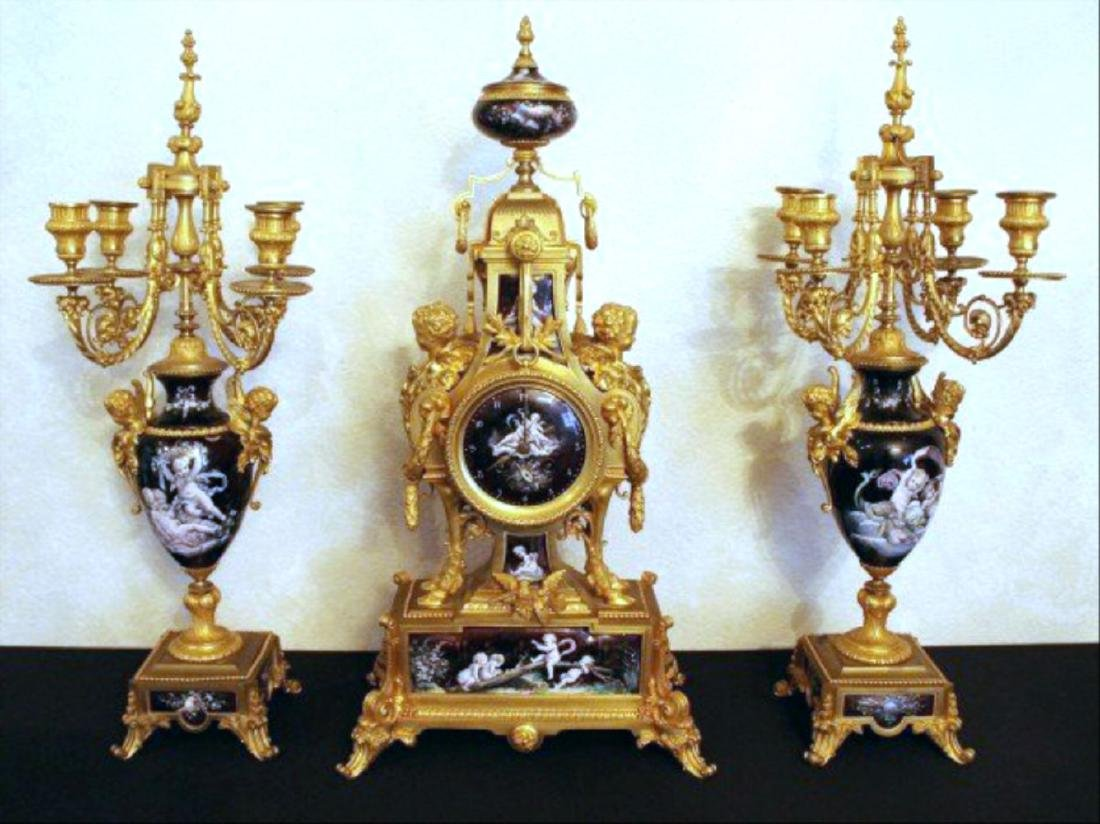 Monumental 19Th Century Limoges Enamel Clock Set