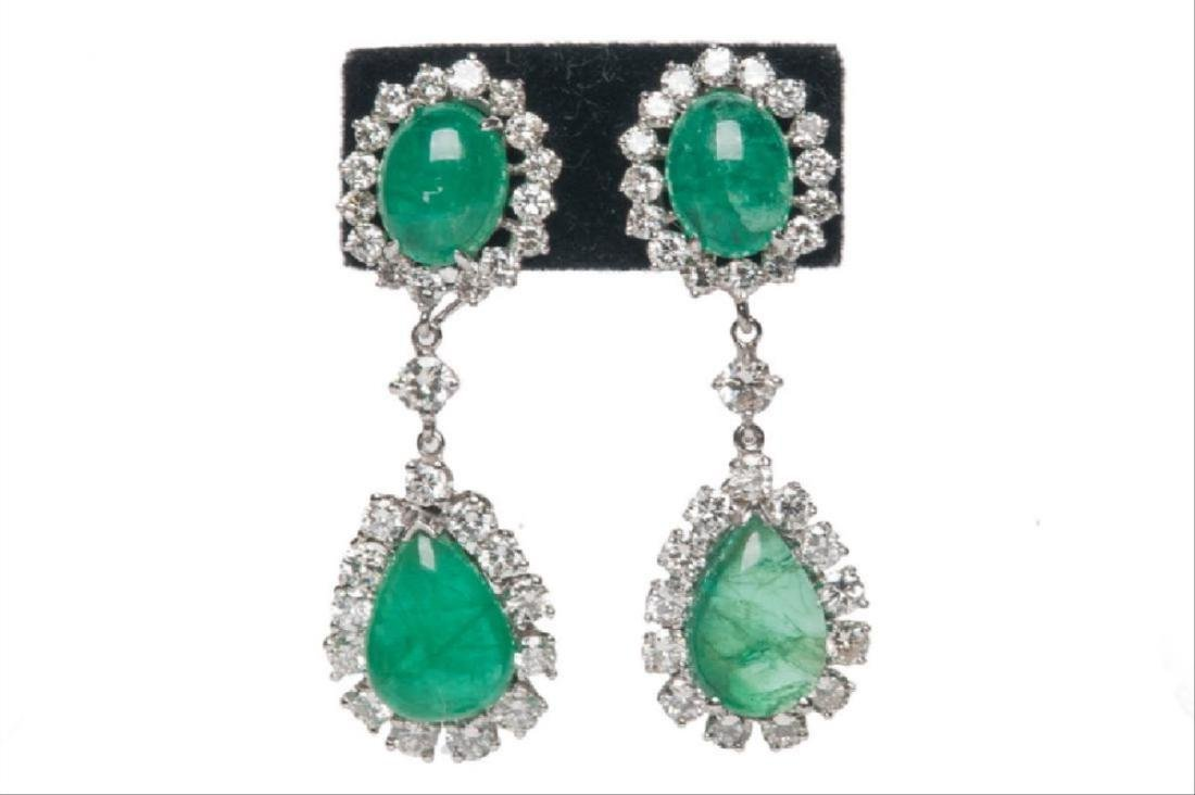 Pair Of 14 Karat White Gold, Emerald, & Diamond