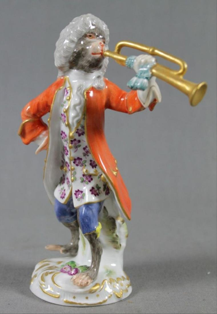 19Th C. Meissen Monkey Band Figure Of Horn Player
