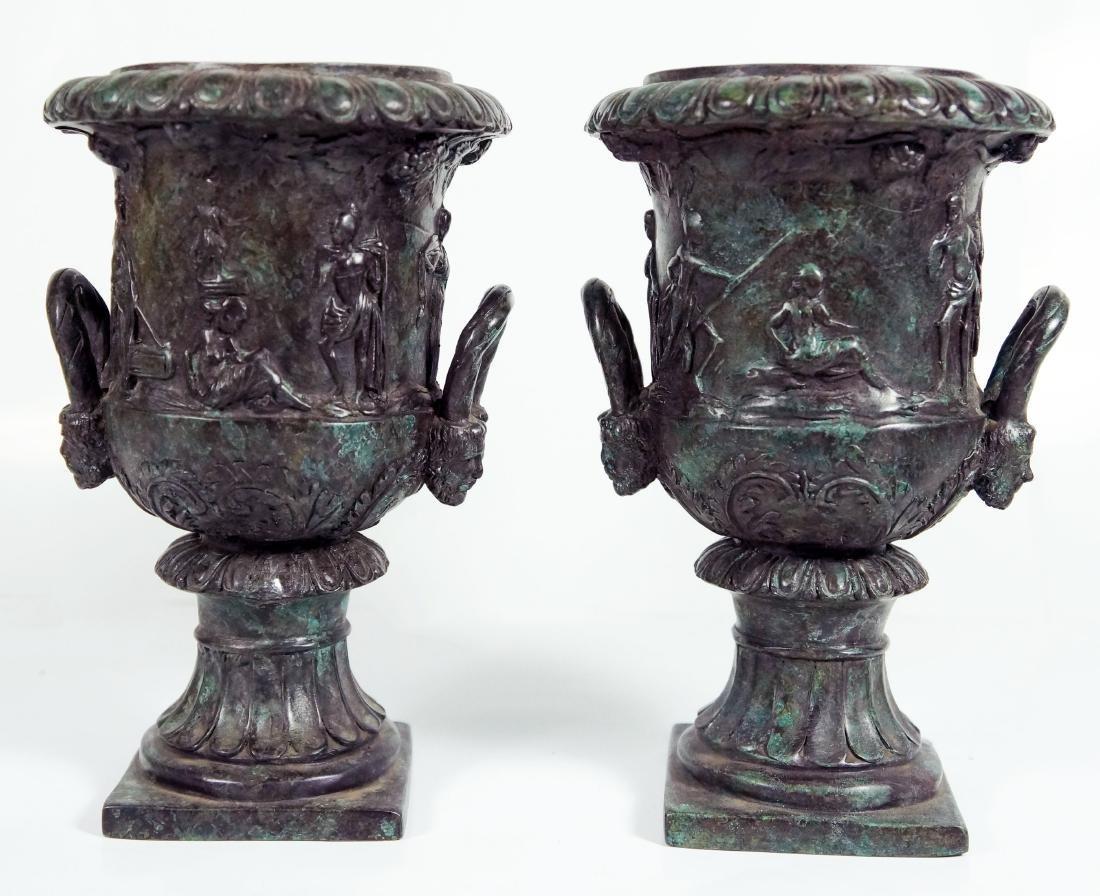 Pair Of Patinated Bronze Urns