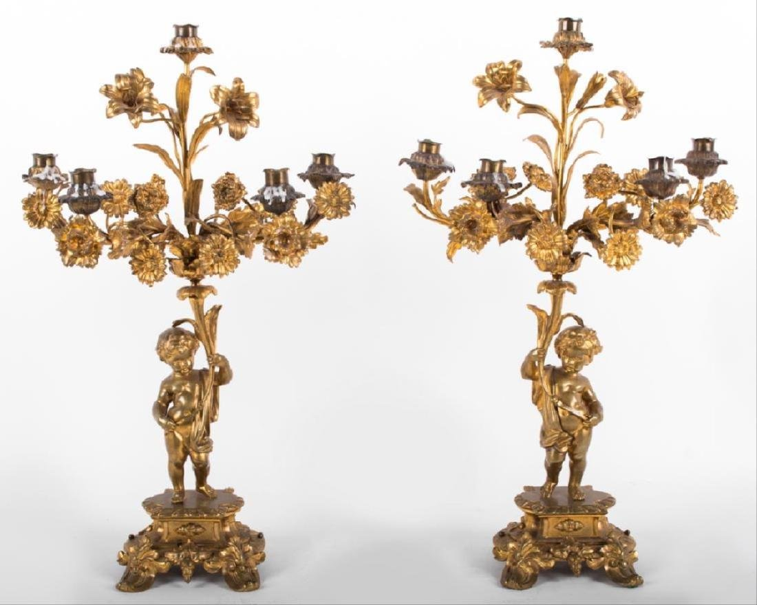 Pair Of Louis Xv Style Gilt Bronze Figural Candelabra