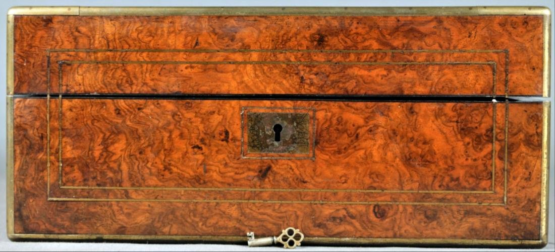 Edwardian Burl Wood Travel Desk